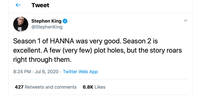 A tweet from Stephen King about HANNA.