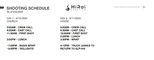 Example of a shoot schedule page in a pre production book.