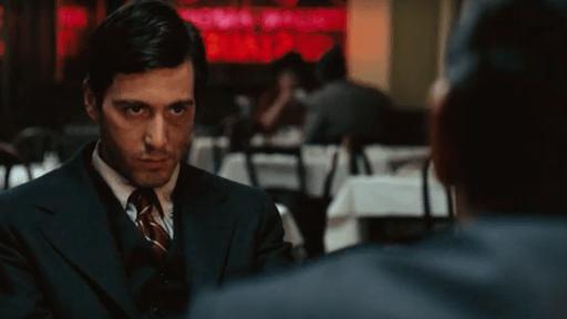 Al Pacino's infamous restaurant scene in The Godfather.